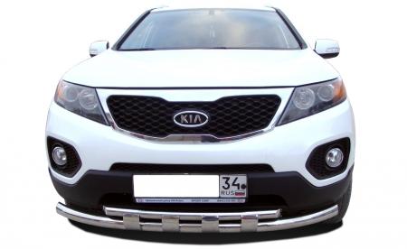 KIA   Sorento 2009-2012   Защита переднего бампера двойная с перемычками  60/42